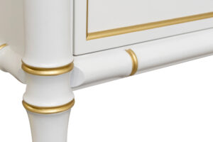 188 022 Double Bureau 70 White 79 Gold Painted Accents Solid Brass Ring Pull Hardware Nine drawers Faux Bamboo corner posts and rails 4 Detail