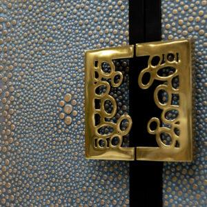 68 3 DR9 DW4 DR9 BP3 Facets 107 Credenza 61 Bark Satin Leather FL120 Golden Denim Hardware Bubble Split Antique Brass Inside Vertical Doors Only Custom Hardware to be Supplied by Customer for Drawers 4 Detail