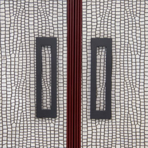 68 7 DR85 DR85 BP2 1 Red Striata Black Lacquer Base Nimbus Leather Beaded Frame Parson Base Detail