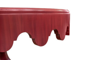 88 819 Scalloped Lamp Table Wood Top 376 Rouge Striata Scalloped Apron Turned Pedestal W Round Plinth Base 3 Detail