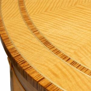 C12621 A Hepplewhite Demi Lune 3000 Custom Match Table STD Size Figured Anigre Beeswing Satinwood Zebra Wood 2 Detail
