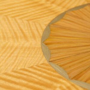 C12621 A Hepplewhite Demi Lune 3000 Custom Match Table STD Size Figured Anigre Beeswing Satinwood Zebra Wood 4 Detail