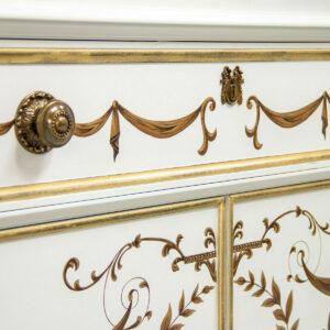 K347 B A Blanco White Classic Gold Leaf Adam Decoration Detail