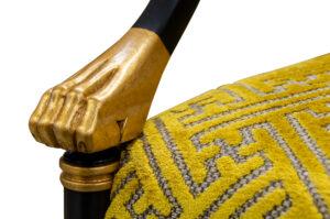 K4993 Regency Arm chair 80 Black Lacquer Painted Finish Antique gold Leaf Trim Hardwood Solids Upholstered Back Pullover Seat 3 Detail